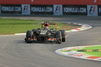 World © Octane Photographic Ltd. F1 Italian GP - Monza, Friday 6th September 2013 - Practice 1. Lotus F1 Team E21 - Kimi Raikkonen. Digital Ref : 0811lw1d1492