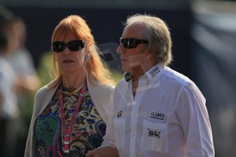 World © Octane Photographic Ltd. F1 Italian GP - Monza, Saturday 7th September 2013 - Paddock. Jackie Stewart and wife Helen (née McGregor. Digital Ref : 0815lw1d4271