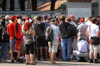 World © Octane Photographic Ltd. GP2 Italian GP, Monza, Thursday 5th September 2013. Atmosphere. The crown wait to get entry to the pitlane for their Thursday visit. Digital Ref : 0808cb7d4832