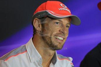 World © Octane Photographic Ltd. F1 Italian GP - Monza, Thursday 5th September 2013 - FIA Press Conference. Vodafone McLaren Mercedes MP4/28 - Jenson Button. Digital Ref : 0809lw1d1150