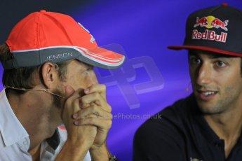 World © Octane Photographic Ltd. F1 Italian GP - Monza, Thursday 5th September 2013 - FIA Press Conference. Vodafone McLaren Mercedes MP4/28 - Jenson Button talking with Scuderia Toro Rosso STR 8 driver Daniel Ricciard. Digital Ref : 0809lw1d1215