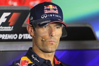 World © Octane Photographic Ltd. F1 Italian GP - Monza, Thursday 5th September 2013 - FIA Press Conference. Infiniti Red Bull Racing RB9 - Mark Webber. Digital Ref : 0809lw1d1219