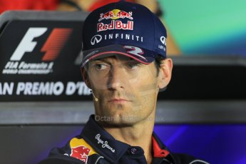World © Octane Photographic Ltd. F1 Italian GP - Monza, Thursday 5th September 2013 - FIA Press Conference. Infiniti Red Bull Racing RB9 - Mark Webber. Digital Ref : 0809lw1d1253