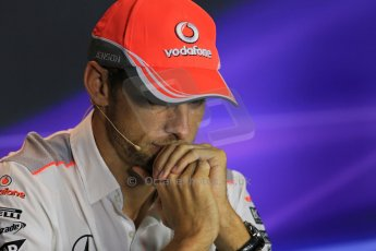 World © Octane Photographic Ltd. F1 Italian GP - Monza, Thursday 5th September 2013 - FIA Press Conference. Vodafone McLaren Mercedes MP4/28 - Jenson Button. Digital Ref : 0809lw1d1320