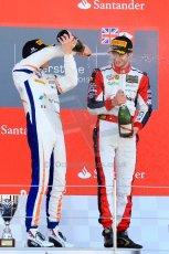 World © Octane Photographic Ltd./Chris Enion. Saturday 30th June 2013 Dallara GP3/13 - British GP - Silverstone - Race 2 Podium. Giovanni Venturini and Alex Fontana celebrate on the podium. Digital ref : 0736ce1d9263