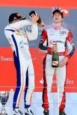 World © Octane Photographic Ltd./Chris Enion. Saturday 30th June 2013 Dallara GP3/13 - British GP - Silverstone - Race 2 Podium. Giovanni Venturini and Alex Fontana celebrate on the podium. Digital ref : 0736ce1d9267