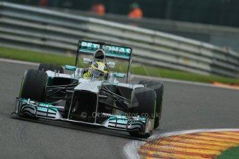 World © Octane Photographic Ltd. F1 Belgian GP - Spa - Francorchamps. Thursday. 25th July 2013. Practice 1. Mercedes AMG Petronas F1 W04 - Nico Rosberg. Digital Ref : 0784lw1d7245