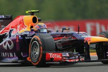 World © Octane Photographic Ltd. F1 Belgian GP - Spa - Francorchamps. Friday 23rd August 2013. Practice 1. Infiniti Red Bull Racing RB9 - Mark Webber. Digital Ref : 0784lw1d7481