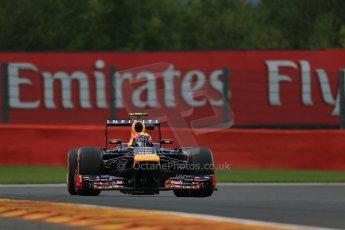 World © Octane Photographic Ltd. F1 Belgian GP - Spa - Francorchamps. Friday 23rd August 2013. Practice 1. Infiniti Red Bull Racing RB9 - Mark Webber. Digital Ref : 0784lw1d7495