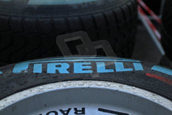 World © Octane Photographic Ltd. Belgian GP Friday 23rd August 2013 paddock. Pirelli wet tyres at the ready as the track gets an early morning soaking at 0800hrs local. Digital Ref : 0783cb7d1650