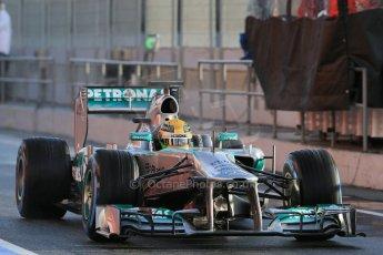 World © Octane Photographic Ltd. Formula 1 Winter testing, Barcelona – Circuit de Catalunya, 28th February 2013. Mercedes AMG Petronas  F1 W04 – Lewis Hamilton. Digital Ref: 0581lw1d6864
