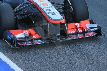 World © Octane Photographic Ltd. Formula 1 Winter testing, Barcelona – Circuit de Catalunya, 2nd March 2013. Vodafone McLaren Mercedes MP4/28 front wing. Sergio Perez. Digital Ref: 0583lw1d8833