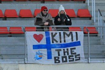 World © Octane Photographic Ltd. Formula 1 Winter testing, Barcelona – Circuit de Catalunya, 2nd March 2013. The disappointed Kimi Raikkonen fans still in teh grandstand despite Kimi being off track ill. Digital Ref: 0583lw1d8842