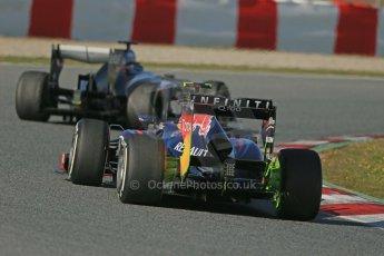 World © Octane Photographic Ltd. Formula 1 Winter testing, Barcelona – Circuit de Catalunya, 2nd March 2013. Infiniti Red Bull Racing RB9 of Mark Webber and the Sauber C32 of Esteban Gutierrez. Digital Ref: 0583lw1d9933