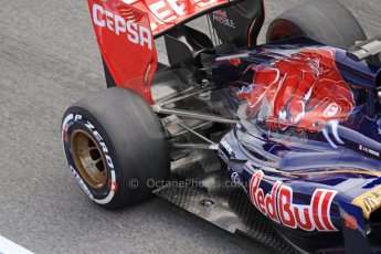 World © Octane Photographic Ltd. Formula 1 Winter testing, Barcelona – Circuit de Catalunya, 2nd March 2013. Toro Rosso STR8 exhaust and rear wing detail, Jean-Eric Vergne. Digital Ref: 0583lw7d0596