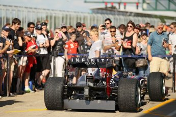 World © Octane Photographic Ltd. Formula 1 - Young Driver Test - Silverstone. Friday 19th July 2013. Day 3. Infiniti Red Bull Racing RB9 Show car with fans. Digital Ref : 0755lw1d0325