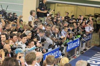 World © Octane Photographic Ltd. Sunday 23rd November 2014. Abu Dhabi Grand Prix - Yas Marina Circuit - Formula 1 Podium. Parc Ferme Media scrum. Digital Ref: 1173CB1D0166