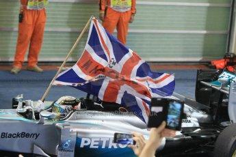 World © Octane Photographic Ltd. Sunday 23rd November 2014. Abu Dhabi Grand Prix - Yas Marina Circuit - Formula 1 Podium. Mercedes AMG Petronas – Lewis Hamilton - Race winner and 2014 World Champion. Digital Ref: 1173CB1D0351