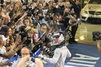 World © Octane Photographic Ltd. Sunday 23rd November 2014. Abu Dhabi Grand Prix - Yas Marina Circuit - Formula 1 Podium. Mercedes AMG Petronas – Lewis Hamilton - Race winner and 2014 World Champion greeting his team and family. Digital Ref: 1173CB1D0459