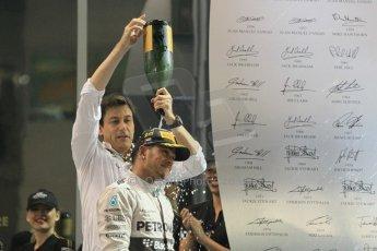 World © Octane Photographic Ltd. Sunday 23rd November 2014. Abu Dhabi Grand Prix - Yas Marina Circuit - Formula 1 Podium. Mercedes AMG Petronas – Lewis Hamilton - Race winner and 2014 World Champion and Williams Racing - Felipe Massa (2nd) and Valtteri Bottas (3rd). Digital Ref: 1173CB1D1271