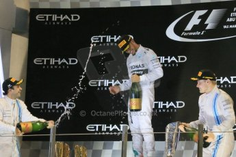 World © Octane Photographic Ltd. Sunday 23rd November 2014. Abu Dhabi Grand Prix - Yas Marina Circuit - Formula 1 Podium. Mercedes AMG Petronas – Lewis Hamilton - Race winner and 2014 World Champion. Digital Ref: 1173LB1DX7607