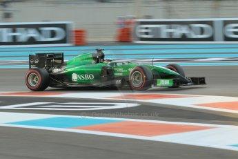 World © Octane Photographic Ltd. 2014 Formula 1 Abu Dhabi Grand Prix, F1 Qualifying, Saturday 22nd November 2014. Caterham F1 Team CT05 - Kamui Kobayashi. Digital Ref : 1166CB1D8213