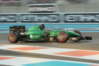 World © Octane Photographic Ltd. 2014 Formula 1 Abu Dhabi Grand Prix, F1 Qualifying, Saturday 22nd November 2014. Caterham F1 Team CT05 - William Stevens. Digital Ref : 1166CB1D8237