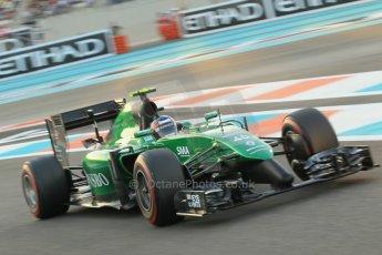 World © Octane Photographic Ltd. 2014 Formula 1 Abu Dhabi Grand Prix, F1 Qualifying, Saturday 22nd November 2014. Caterham F1 Team CT05 - William Stevens. Digital Ref : 1166CB1D8303
