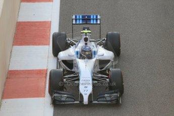 World © Octane Photographic Ltd. Sunday 23rd November 2014. Abu Dhabi Grand Prix - Yas Marina Circuit - Formula 1 Race. Williams Racing FW36 – Valtteri Bottas on his out lap from the pits. Digital Ref: