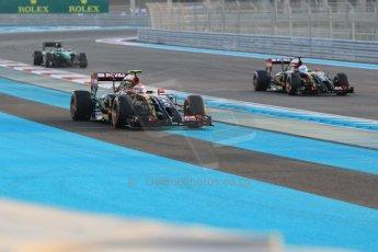 World © Octane Photographic Ltd. Sunday 23rd November 2014. Abu Dhabi Grand Prix - Yas Marina Circuit - Formula 1 Race. Lotus F1 Team E22 – Pastor Maldonado and Romain Grosjean. Digital Ref: