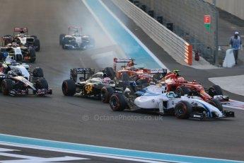 World © Octane Photographic Ltd. Sunday 23rd November 2014. Abu Dhabi Grand Prix - Yas Marina Circuit - Formula 1 Race. Williams Racing FW36 – Felipe Massa, McLaren Mercedes MP4/29 - Jenson Button and Scuderia Ferrari F14T – Kimi Raikkonen. Digital Ref:
