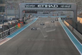World © Octane Photographic Ltd. Sunday 23rd November 2014. Abu Dhabi Grand Prix - Yas Marina Circuit - Formula 1 Race. Mercedes AMG Petronas F1 W05 Hybrid – Lewis Hamilton and Nico Rosberg. Digital Ref: