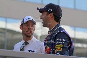 World © Octane Photographic Ltd. Sunday 23rd November 2014. Abu Dhabi Grand Prix - Yas Marina Circuit - Formula 1 Drivers Parade. Infiniti Red Bull Racing - Daniel Ricciardo and McLaren Mercedes - Jenson Button. Digital Ref: