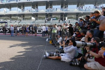World © Octane Photographic Ltd. Sunday 23rd November 2014. Abu Dhabi Grand Prix - Yas Marina Circuit - Media lineup. Digital Ref: