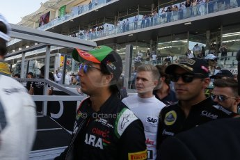 World © Octane Photographic Ltd. Sunday 23rd November 2014. Abu Dhabi Grand Prix - Yas Marina Circuit - Sergio Perez, Kevin Magnussen and Pastor Maldonado. Digital Ref: