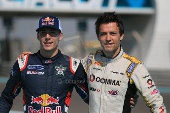 World © Octane Photographic Ltd. Sunday 23rd November 2014. Abu Dhabi Grand Prix - GP2 and GP3 champions photo shoot. Alex Lynn - Carlin - GP3 Champion and Jolyon Palmer - DAMS - GP2 Champion. Digital Ref: 1168CB1D6455