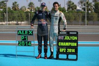 World © Octane Photographic Ltd. Sunday 23rd November 2014. Abu Dhabi Grand Prix - GP2 and GP3 champions photo shoot. Alex Lynn - Carlin - GP3 Champion and Jolyon Palmer - DAMS - GP2 Champion. Digital Ref: 1168CB1D6465