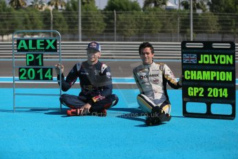 World © Octane Photographic Ltd. Sunday 23rd November 2014. Abu Dhabi Grand Prix - GP2 and GP3 champions photo shoot. Alex Lynn - Carlin - GP3 Champion and Jolyon Palmer - DAMS - GP2 Champion. Digital Ref: 1168CB1D6480