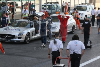 World © Octane Photographic Ltd. Sunday 23rd November 2014. GP2 Race 2 Parc Ferme – Abu Dhabi GP - Yas Marina Circuit, United Arab Emirates. FIA Safety and Medical Cars. Digital Ref :1170CB7D9093