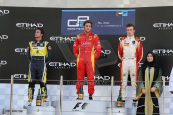 World © Octane Photographic Ltd. Sunday 23rd November 2014. GP2 Race 2 Podium – Abu Dhabi GP - Yas Marina Circuit, United Arab Emirates. Stefano Coletti - Racing Engineering, Felipe Nasr - Carlin and Arthur Pic - Campos Racing. Digital Ref :1170CB7D9129