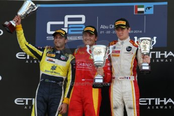 World © Octane Photographic Ltd. Sunday 23rd November 2014. GP2 Race 2 Podium – Abu Dhabi GP - Yas Marina Circuit, United Arab Emirates. Stefano Coletti - Racing Engineering, Felipe Nasr - Carlin and Arthur Pic - Campos Racing. Digital Ref :1170CB7D9161