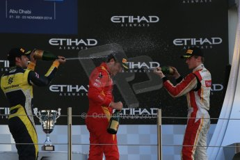 World © Octane Photographic Ltd. Sunday 23rd November 2014. GP2 Race 2 Podium – Abu Dhabi GP - Yas Marina Circuit, United Arab Emirates. Stefano Coletti - Racing Engineering, Felipe Nasr - Carlin and Arthur Pic - Campos Racing. Digital Ref :1170LB1D7161