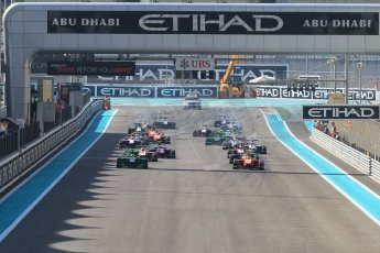 World © Octane Photographic Ltd. Sunday 23rd November 2014. GP3 Race 2 – Abu Dhabi GP - Yas Marina Circuit, United Arab Emirates. Race start. Digital Ref :