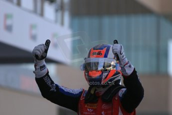 World © Octane Photographic Ltd. Sunday 23rd November 2014. GP3 Race 2 Parc Ferme– Abu Dhabi GP - Yas Marina Circuit, United Arab Emirates. Patric Neiderhauser - Arden International. Digital Ref :1169LB1D6720