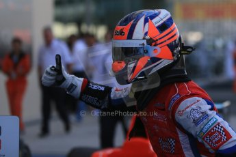 World © Octane Photographic Ltd. Sunday 23rd November 2014. GP3 Race 2 Parc Ferme – Abu Dhabi GP - Yas Marina Circuit, United Arab Emirates. Patric Neiderhauser - Arden International. Digital Ref :1169LB1D6725
