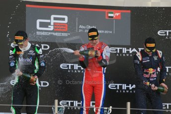 World © Octane Photographic Ltd. Sunday 23rd November 2014. GP3 Race 2 – Abu Dhabi GP Podium - Yas Marina Circuit, United Arab Emirates. Patric Neiderhauser - Arden International, Nick Yelloly – Status Grand Prix and Alex Lynn – Carlin. Digital Ref :1169LB1D6856
