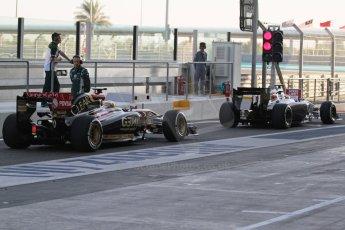 World © Octane Photographic Ltd. Tuesday 25th November 2014. Abu Dhabi Testing - Yas Marina Circuit. Sauber C33 – Marcus Ericsson and Lotus F1 Team E22 – Charles Pic. Digital Ref: 1174LB7L9530