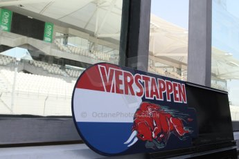World © Octane Photographic Ltd. Tuesday 25th November 2014. Abu Dhabi Testing - Yas Marina Circuit. Scuderia Toro Rosso STR9 – Max Verstappen pit board. Digital Ref: 1174LB7L9690