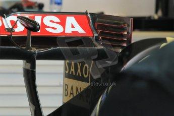 World © Octane Photographic Ltd. Wednesday 26th November 2014. Abu Dhabi Testing - Yas Marina Circuit. Lotus F1 Team E22 rear wing detail. Digital Ref: 1175CB1D8634