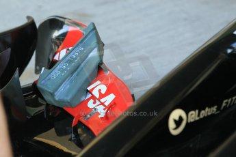 World © Octane Photographic Ltd. Wednesday 26th November 2014. Abu Dhabi Testing - Yas Marina Circuit. Lotus F1 Team E22 front wing setting blocks. Digital Ref: 1175CB1D9001
